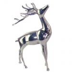 Casa Padrino Designer Deko Hirsch Silber 28x13x41cm - poliertes Aluminium - Figur Skulptur