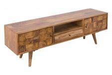 Casa Padrino Designer Fernsehschrank Natur B.140 x H.45 x T.35 - Sideboard - Kommode - Handgefertigt Massivholz!