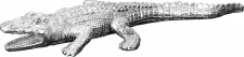 Casa Padrino Krokodil Skulptur Figur 41 x 17 cm Silber Polyresin - Wohn Deko