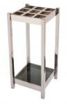 Casa Padrino Luxus Regenschirmständer Silber / Schwarz 30 x 30 x H. 70 cm - Edelstahl Schirmständer mit getöntem Glas
