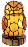 Casa Padrino Tiffany Tischleuchte / Dekoleuchte Eule Ø 16 x H. 18 cm - Handgefertigte Tiffany Leuchte aus 116 Glasteilen