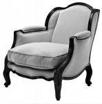 Casa Padrino Luxus Barock Lounge Sessel Schwarz / Grau Herringbone Mod5 - Hotel Möbel