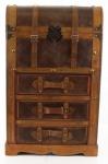 Casa Padrino Deko Koffer / Truhe mit 3 Schubladen Braun 43, 5 x 39, 5 x H. 71, 5 cm - Art Deco Möbel