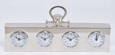 Casa Padrino Luxus Tischuhr Silber 49 x 5 x H. 25 cm - Dekorative Messing Uhr