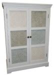 Casa Padrino Landhausstil Schrank Weiß / Mehrfarbig 85 x 38 x H. 120 cm - Handgefertigter mittelhoher Schrank mit 2 Türen