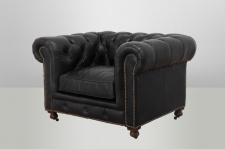 Chesterfield Luxus Echt Leder Sessel Vintage Leder von Casa Padrino Old Saddle Black - Club Sessel