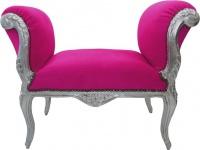 Barock Schemel Hocker Pink / Silber - Sitzbank