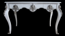 Casa Padrino Luxus Barock Schreibtisch Weiß / Silber Sekretär Luxus Möbel
