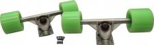 Longboard Profi Achsen + Rollen + Kugellager + Schrauben Set 180mm Trucks Silver / 59 x 45 mm / 78a Wheels Grün