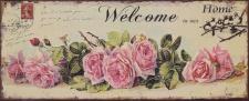 Casa Padrino Deko Zinn Schild / Blechschild Welcome Home Mehrfarbig 47, 5 x H. 19 cm - Vintage Retro Metallschild