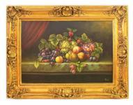 Handgemaltes Barock Öl Gemälde Obst Gold Prunk Rahmen 130 x 100 x 10 cm - Massives Material