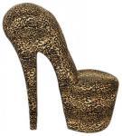 Casa Padrino High Heel Sessel Schuh Sessel mit Dekosteinen Leopard - Designer Sessel - Club Möbel Stuhl