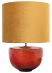 Casa Padrino Luxus Keramik Tischleuchte Orange / Gold Ø 45 x H. 63 cm - Handgefertigte Tischlampe mit goldenem Lampenschirm