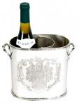 Massiver Luxus Tisch Weinflaschen Halter Weinkühler Coat of Arms für 1 Weinflasche Nickel Finish - Casa Padrino Luxury Collection - vernickelt H 18 cm B 23 cm T 10 cm Weinständer Weinflaschenkühler Weinflaschenhalter