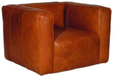 Casa Padrino Echtleder Wohnzimmer Sessel Hellbraun 124 x 110 x H. 67 cm - Luxus Wohnzimmermöbel