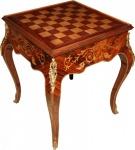Casa Padrino Art Deco Spieltisch Schach / Backgammon Tisch Mahagoni Braun Intarsien L 60 x B 60 x H 71 cm - Möbel Antik Stil Barock