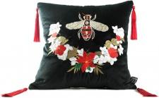 Casa Padrino Luxus Deko Kissen mit Troddeln Bee Schwarz / Mehrfarbig 45 x 45 cm - Feinster Samtstoff - Luxus Deko Accessoires