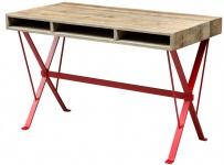 Casa Padrino Designer Schreibtisch mit rot pulverbeschichteten Beinen 120 x 60 x H. 77 cm - Designer Büromöbel