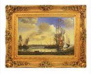 Handgemaltes Barock Öl Gemälde Schiffe im Hafen Gold Prunk Rahmen 130 x 100 x 10 cm - Massives Material