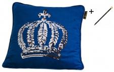 Harald Glööckler Designer Zierkissenhülle Krone mit Pailletten Blau / Silber 50 x 50 cm + Casa Padrino Luxus Barock Bleistift mit Kronendesign