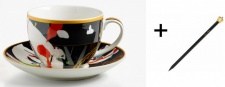 Harald Glööckler Porzellan Tasse mit Untertasse Mod1 + Luxus Bleistift von Casa Padrino - Barock Dekoration