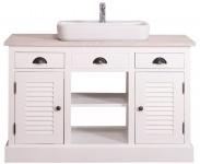 Casa Padrino Landhausstil Waschbeckenschrank Weiß / Hellgrau 120 x 51 x H. 75 cm - Waschtisch mit 2 Türen und 3 Schubladen