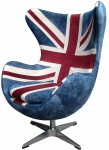 Casa Padrino Egg Chair Union Jack / Silber 87 x 77 x H. 116 cm - Luxus Drehsessel