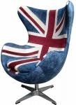 Casa Padrino Egg Chair Union Jack / Silber 87 x 77 x H. 116 cm - Luxus Drehsessel