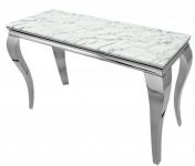 Casa Padrino Designer Konsole mit Marmor 140 cm Weiss / Grau - Modern Barock