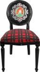 Casa Padrino Barock Luxus Esszimmer Stuhl ohne Armlehnen Schottland Karo / Schwarz Woman - Designer Stuhl - Limited Edition