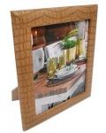 Casa Padrino Luxus Leder Bilderrahmen Hellbraun 16, 5 x 4 x H. 22 cm - Dekorativer Bilderrahmen in Kroko-Optik