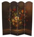 Casa Padrino Art Deco Raumteiler Braun / Mehrfarbig 161 x H. 168, 7 cm - Luxus Paravent Sichtschutz Trennwand