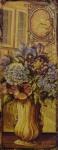 Casa Padrino Deko Zinn Schild / Blechschild Blumenstrauß Mehrfarbig 20 x H. 50 cm - Vintage Retro Metallschild