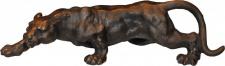 Casa Padrino Luxus Figur Panther H 11 cm, B 41 cm, T 13 cm - Massive Skulptur - Edel & Prunkvoll