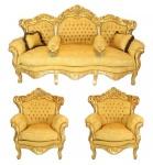 Casa Padrino Barock Wohnzimmer Set Gold Bouquet Muster / Gold - 3er Sofa + 2 Sessel
