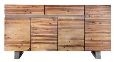 Casa Padrino Luxus Sideboard Natur B.170 x H.90 x T.45 - Fernsehschrank - Kommode - Handgefertigt aus massivem Akazienholz!
