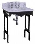 Casa Padrino Luxus Jugendstil Stand Waschtisch Weiß / Schwarz mit Marmorplatte mit Spritzschutz hinten - Barock Waschbecken Barockstil Antik Stil