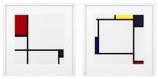 Casa Padrino Designer Deko Bilder 2er Set Mehrfarbig / Weiß 75 x H. 75 cm - Luxus Kunstdrucke
