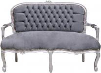 Casa Padrino Barock Kinder Sitzbank Grau / Silber 90 x 38 x H. 67 cm - Antik Stil Kindermöbel
