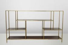 Casa Padrino Art Deco Luxus Regal Schrank Edelstahl Gold mit getönten Glasböden H108 x 190 x 40 cm - Bücherregal Regal Schrank - Jugendstil Möbel