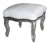 Casa Padrino Barock Fußhocker Weiß / Silber