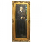 Riesiges Handgemaltes Barock Öl Gemälde Caballero Gold Prunk Rahmen 220 x 100 x 10 cm - Massives Material