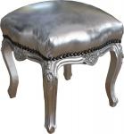 Casa Padrino Barock Sitzhocker Silber / Silber Höhe 40 cm, Breite 35 cm - Barock Möbel