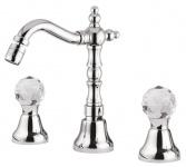 Luxus Waschtisch Armatur mit Swarovski Kristallglas Silber H. 20 cm - Luxus Waschbecken 3-Loch-Armatur