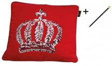 Harald Glööckler Designer Zierkissenhülle Krone mit Pailletten Rot / Silber 50 x 50 cm + Casa Padrino Luxus Barock Bleistift mit Kronendesign