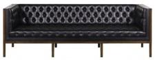 Casa Padrino Chesterfield Echtleder 3-Sitzer Sofa Schwarz / Braun 213 x 78 x H. 72 cm - Hotel Möbel