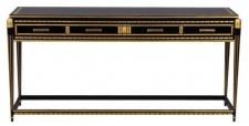 Casa Padrino Luxus Wohnzimmer Konsolentisch Schwarz / Gold 171 x 46 x H. 80 cm - Luxus Konsole mit 4 Schubladen