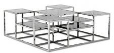 Casa Padrino Designer Couchtisch Silber / Grau 120 x 120 x H. 42 cm - Luxus Wohnzimmermöbel