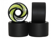 Flying Wheels Longboard Profi Wheels Drifters 70mm / 83a Schwarz abgerundet + angeraute Lauffläche - Longboard Cruiser Wheel Set (4 Rollen)