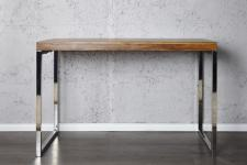 Casa Padrino Designer Schreibtisch Massivholz / Chrom 120 cm - Sekretär Konsole - Computertisch